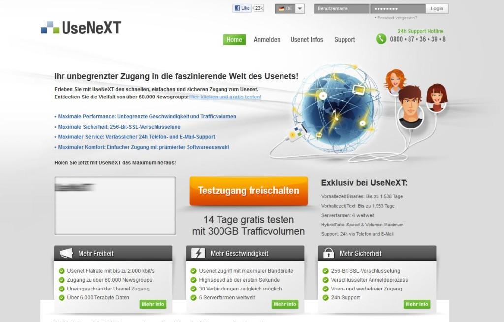 Screenshot der Webseite usenext.de